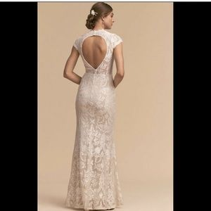 Betsy & Adam Allover Lace Gown Wedding Dress 4